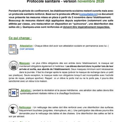 Protocole sanitaire - version novembre 2020