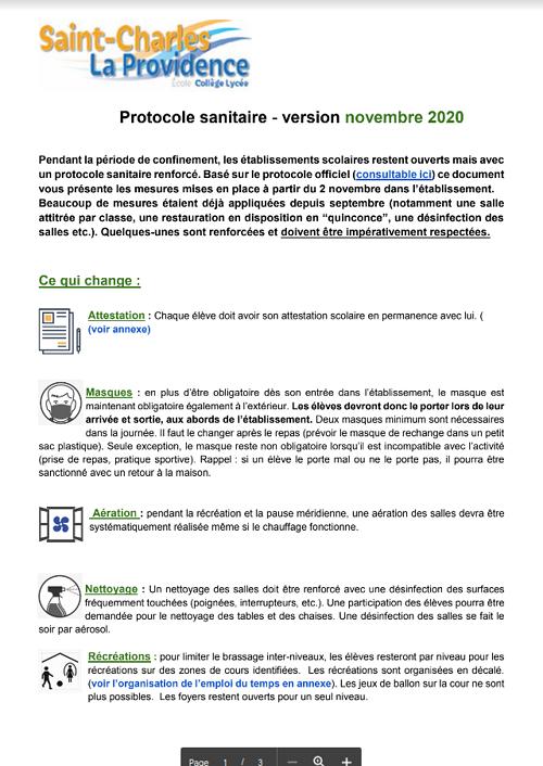 Protocole sanitaire - version novembre 2020 0